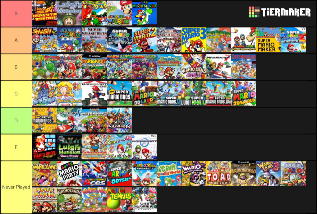 list of all mario games