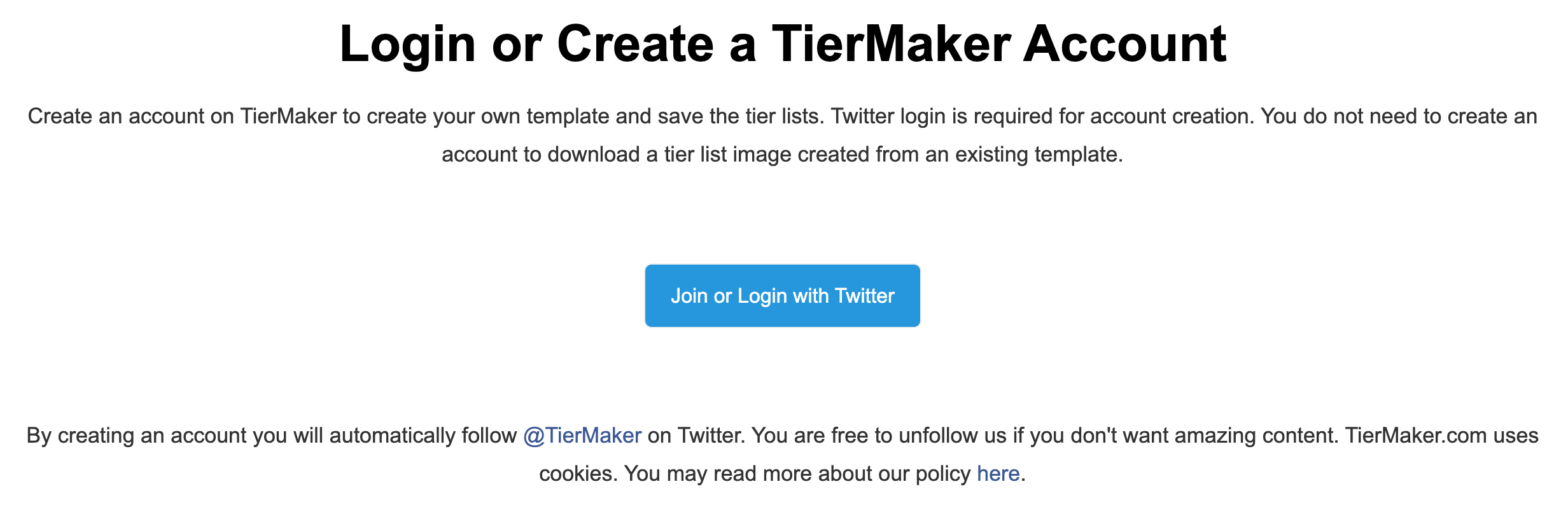 Using Twitter login to create a TierMaker account